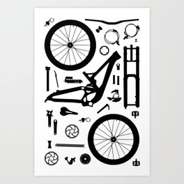 Downhill Bike Parts Art Print