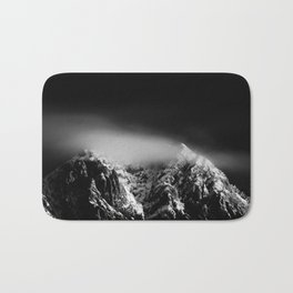 Black and white long exposure of clouds above mountain Bath Mat