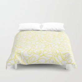 Doodle Line Art   Bright Yellow Lines on White Background Duvet Cover