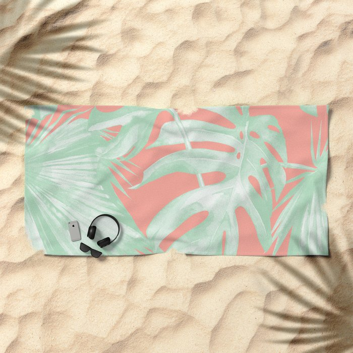 Island Love Coral Pink + Light Green Beach Towel