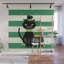 Black cat in bow tie and hat with green shamrock Wall Mural