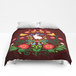Bunny Of The Flowers Comforters
