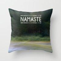 namaste Throw Pillows featuring Namaste by Angela Fanton