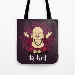 Be Kind Little Buddha Cute Smiling Buddha over mandala Tote Bag