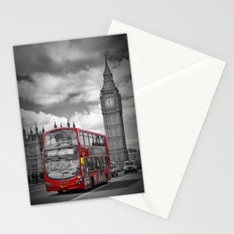 LONDON Houses of Parliament & Red Bus Stationery Cards