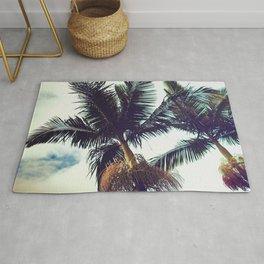 Tropical Hawaiian Vintage Palm Trees Fine Art Photo Rug