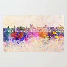 Dhaka skyline in watercolor background Rug