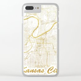 Kansas City Map Gold Clear iPhone Case