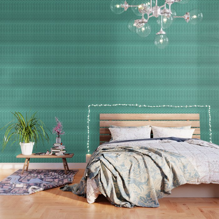 Japanese Green Art Deco Waves Wallpaper By Ratherswell