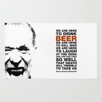 bukowski Area & Throw Rugs featuring beer&bukowski by radiozimbra