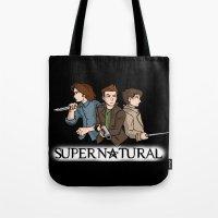 supernatural Tote Bags featuring Supernatural by KewlZidane