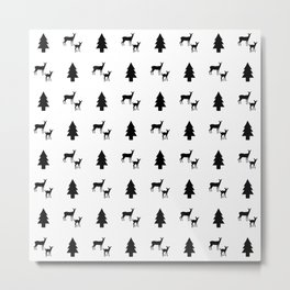 Mama & Baby Deer Pattern: Black & White Metal Print