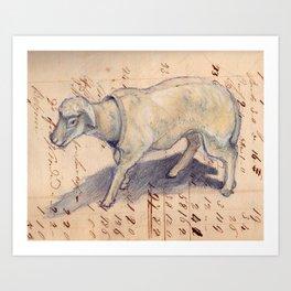 Vintage Celluloid Sheep Nodder Art Print