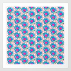 Blue Painted Flowers Art Print