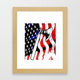 Firefighter American Flag Fire Ax Department Gift Framed Art Print
