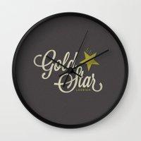 lesbian Wall Clocks featuring Gold Star Lesbian by ElekTwick