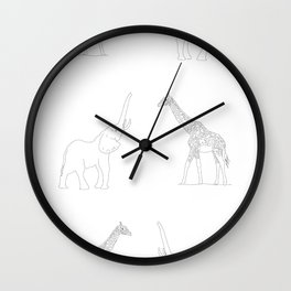 Giraffe And Elephant With Big Icon Wall Clock