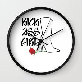 Kick Ass Girl Stiletto Boots Rose Grace Strength Wall Clock