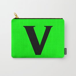 v (BLACK & LIME LETTERS) Carry-All Pouch