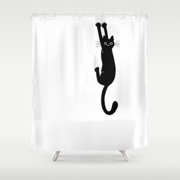 Black Cat Hanging On   Funny Cat Shower Curtain