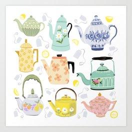 Vintage Teapots Art Print