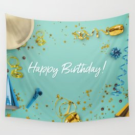 Happy Birthday Party Scene Layflat Wall Tapestry