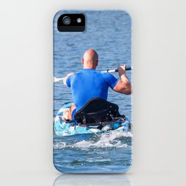 Kayaker Man Paddle Kayak. Kayaking, Paddling, Canoeing. iPhone Case