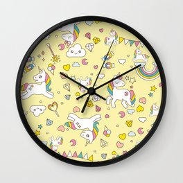 Unicorn Yellow Pattern Wall Clock