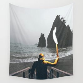 Wanderer at the Washington State Beach Wall Tapestry
