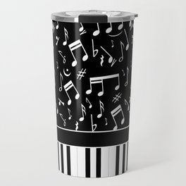 Stylish black and white piano keys and musical notes Travel Mug