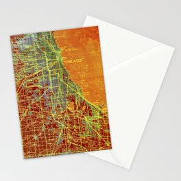 Chicago Illinois old map year 1947, vintage usa maps, colorful art Stationery Cards