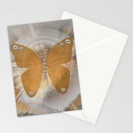 Golden Butterfly with Diamonds Stationery Cards