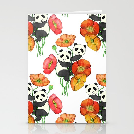 Poppies & Pandas Stationery Cards