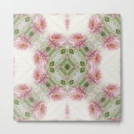 Pink Chrysanthemums Kaleidoscope Art 10 Metal Print