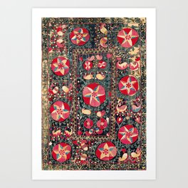 Shakhrisyabz Suzani Antique South West Uzbekistan Embroidery Art Print