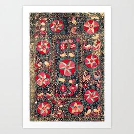 Shakhrisyabz Suzani Southwest Uzbekistan Embroidery Print Art Print