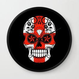 Sugar Skull with Roses and Flag of England Wall Clock
