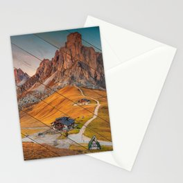 Faux Wood Majestic Sunset & Alpine Mountain Rural Landscape Photograph Stationery Cards