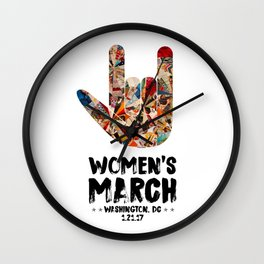 Iconic 'I Love You' in American Sign Language for Women's March Wall Clock