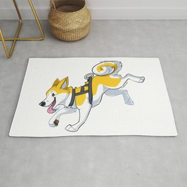 Yellow Husky Running Rug