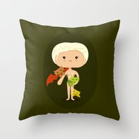 mother of dragons Throw Pillows featuring Dragons' Mother by Sombras Blancas Art & Design