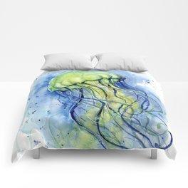 Jellyfish Watercolor Beautiful Sea Creatures Comforters