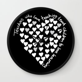 Hearts Heart Teacher White on Black Wall Clock