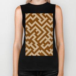 Tan Brown and Chocolate Brown Diagonal Labyrinth Biker Tank
