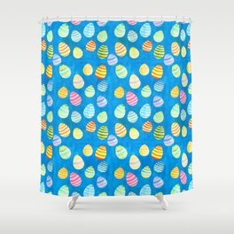 Easter Egg Watercolor Pattern -  Blue Shower Curtain