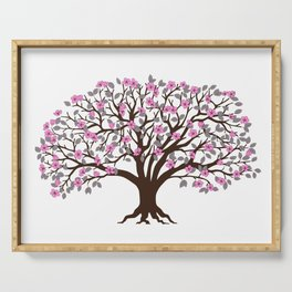 apple tree with pink blossom on the white background Serving Tray