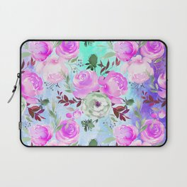 Blush pink lilac lavender teal watercolor roses pattern Laptop Sleeve
