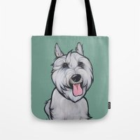 levi Tote Bags featuring Levi the Miniature Schnauzer by Pawblo Picasso