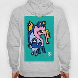Underwater Green Pink and Blue Creatures Street Art Hoody