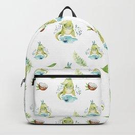 Modern hand painted teal green watercolor crocodile floral Backpack